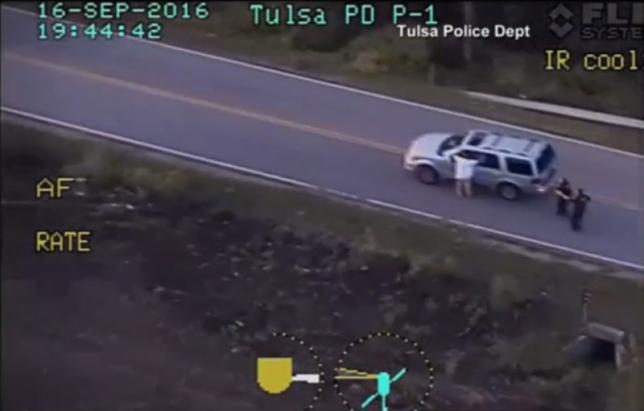 Tulsa Police Department video of Terence Crutcher seen with his hands in the air in Tulsa
